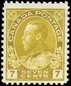 Canada-113-mint-F-VF-OG-LH-1916-King-George-V-7c-yellow-ochre-Admiral-CV-55-00