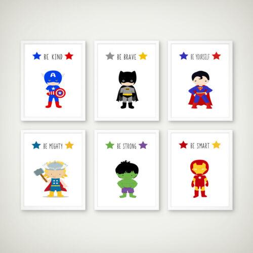 Super-héros empreintes enfants garçons chambre Nursery Decor photos murale salle de jeux