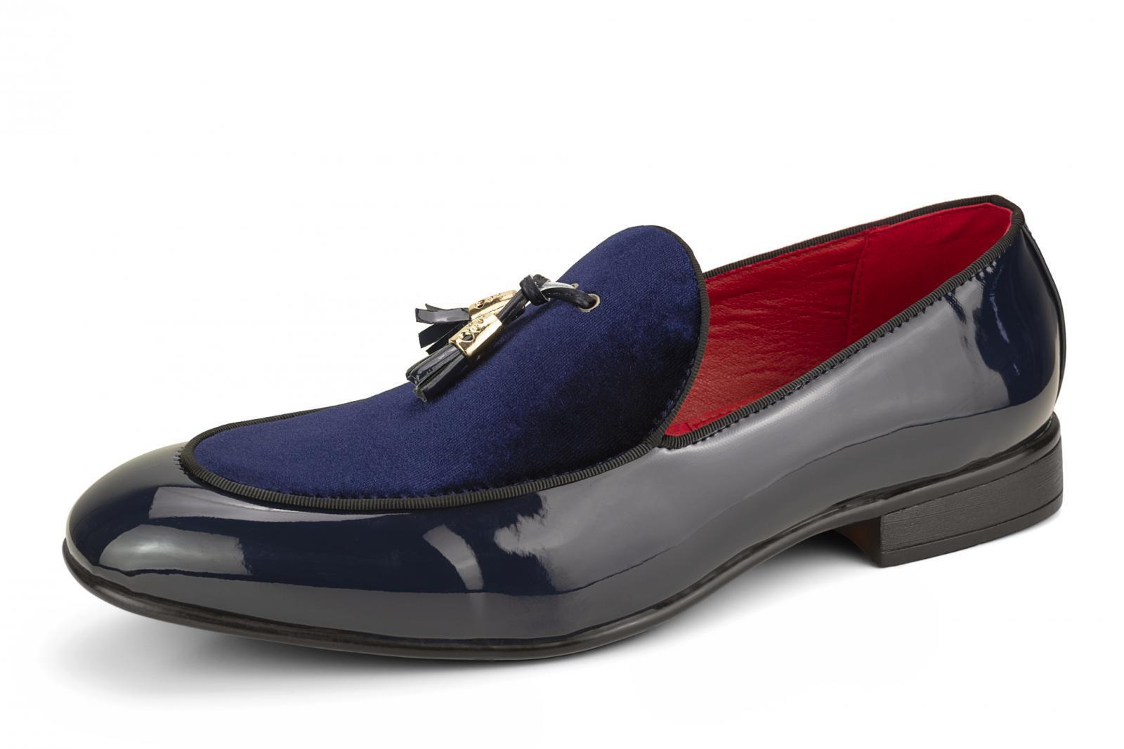 Uomo Slip Driving On Patent Shiny Tussle Driving Slip Loafers Leder Smart Casual Blau Schuhes b3b850