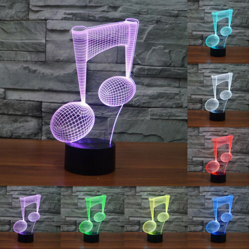 7-Color Acrylic Visual Touch Lamp Kids Home Gifts Music Note 3D LED Night Lights