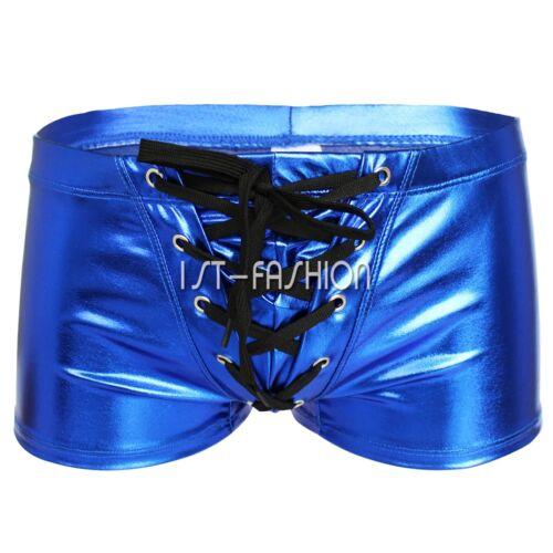 Lackleder Boxershorts Herren Unterhosen PVC Body Pants Briefs Badeanzug Lingerie