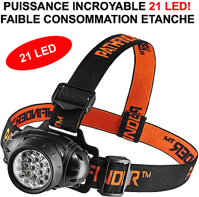 CAMPING VTT TRECKING RARE INTROUVABLE LAMPE FRONTALE 21 LED HYPER PUISSANTE!