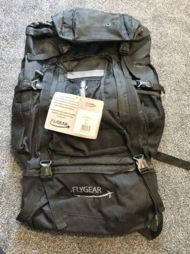 FLYGEAR 80 LTR CAMPING HIKING BACKPACK BAG RUCKSACK BLACK BARGAIN ONLY 7.99