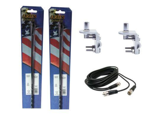 12/' DUAL COAX BLACK 2 ARIES 10819 4` Foot 500 Watt CB Radio Antenna MOUNTS