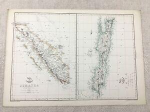Antik Map Of Indonesien Java Sumatra Indisch Ocean Hand- Farbig 19th Jahrhundert