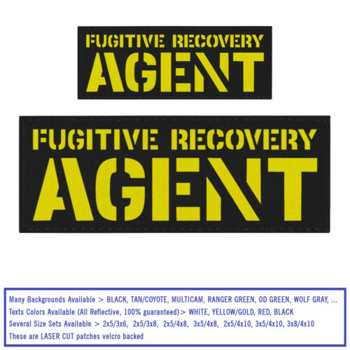 Bundle Set 2 Fugitive Recovery Agent Reflective Patches Plate Carrier Federal #X