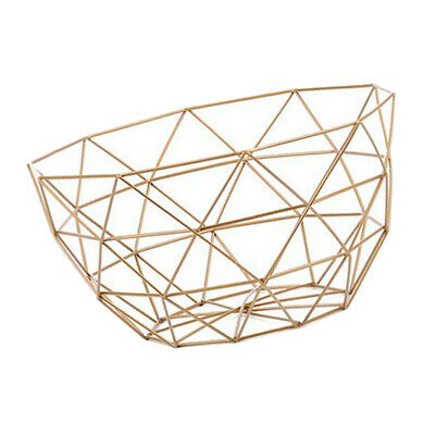 Rose Gold Round Wire Metal Geometric Fruit Basket Nest Bowl Home Crafts Ornaments Fruit Veg Storage Desktop Display
