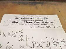 Letterhead Alexander Lewis & Co. Commission Merchants Wheat Flour Corn Oats 1887