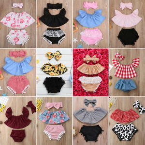 Newborn Baby Girl Outfit Lace Ruffled Top+Demin Shorts Dress+Headband Clothes US