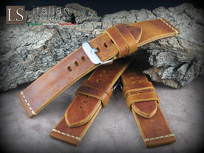 22 mm Genuine Italian Leather VINTAGE LARGE Watch Strap Band for Panerai Camel