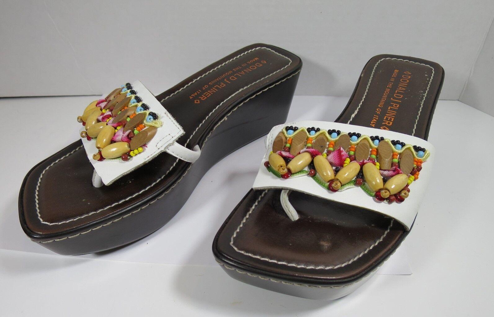 Donald J Pliner SIFI Platform Thong Wedge Sandals Slides Beaded 6 1/2 M
