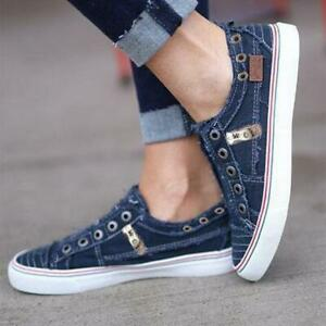 Womens Canvas Denim Loafers Slip On
