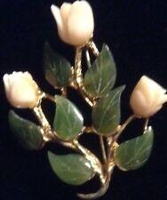 Vintage genuine signed SWOBODA INC Carved Jade Angekskin coral Rose Pin/Brooch