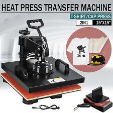 Led 15x15 2 In 1 Heat Press Machine Swing Away Digital Sublimation T Shirt Hat