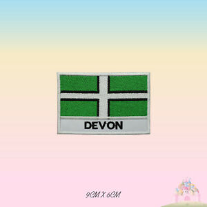 DEVON UK County Flag With Name Embroidered Iron On Patch Sew On Badge