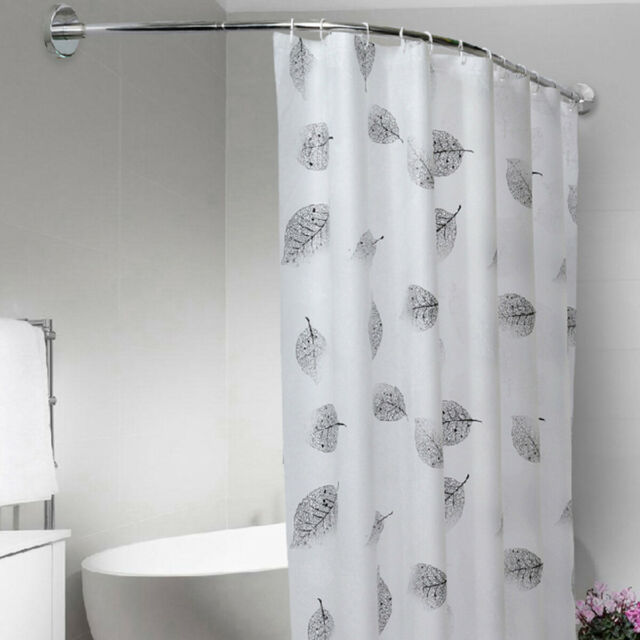 Extendable Telescopic Shower Curtain Rail Rod Curved L Pole Bath Hooks 100-160cm