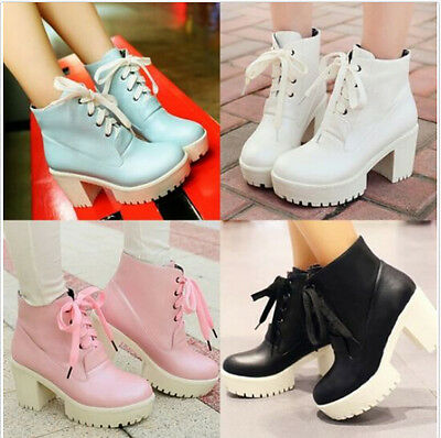 Hot Gothic Punk Womens Chunky High Heels Lace Up Platform Ankle Riding Boot Size