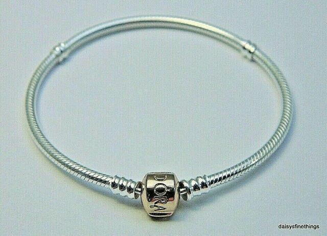 Authentic PANDORA Sterling Silver Bracelet With Rose Gold Clasp 580702-18  18cm
