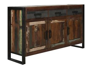 Sideboard Kommode Turen Schubladen Holz Recycelt Metall Bunt
