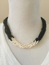 Vintage 14/20 Gold Filled Clasp Onyx Rice Pearl Beaded 6 Strand Necklace 20""