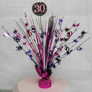 Image Is Loading 30th Birthday Spray Centrepiece Table Decoration Black Pink
