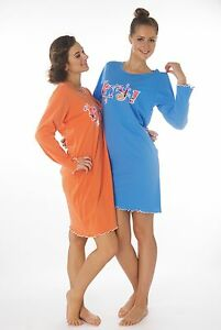 Damen-Nachthemden-2-Stueck-1-Preis-DF855V-100-Baumwolle-Jersey