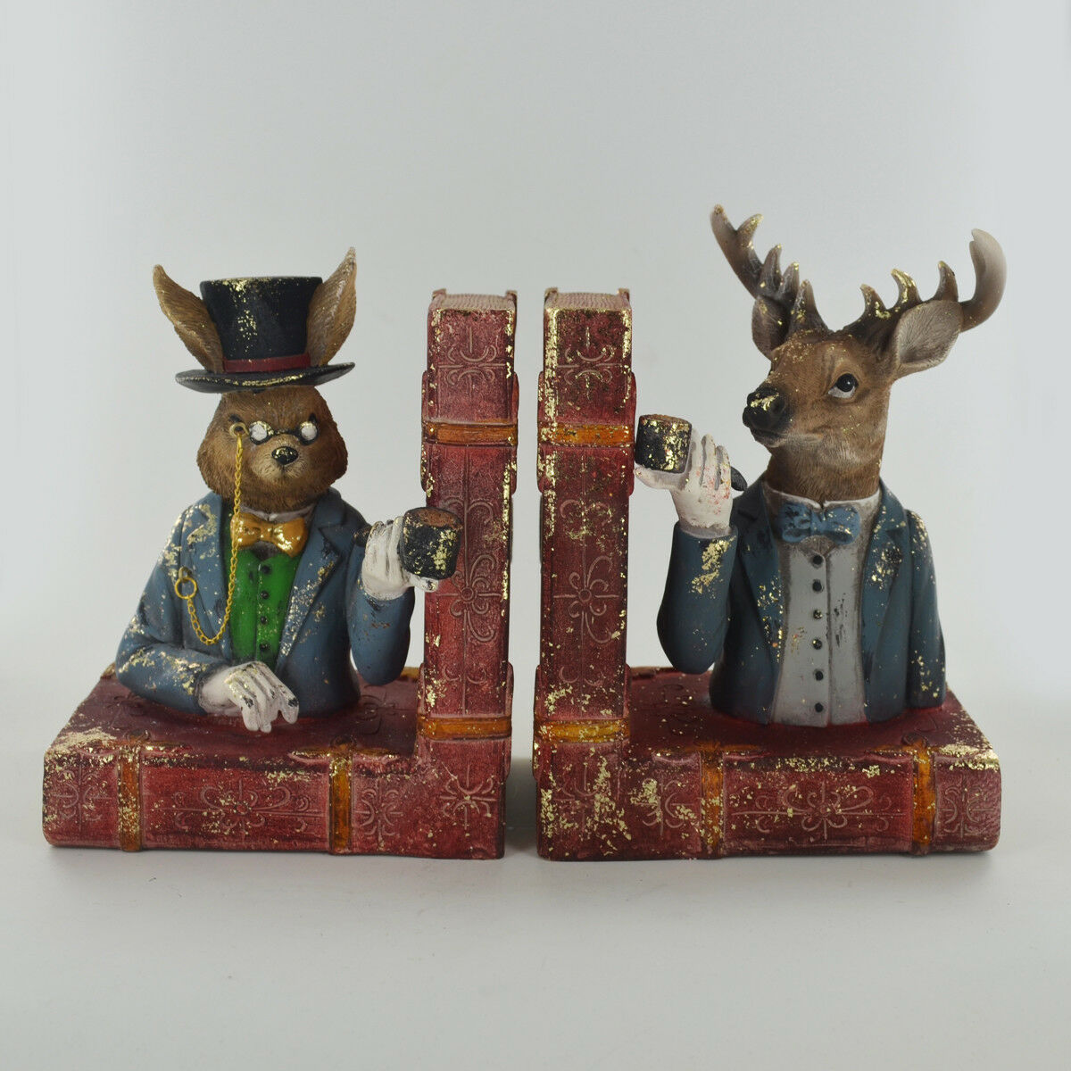 Dapper Animals Hare & Stag Bookends.Sculpture   Figurine.New