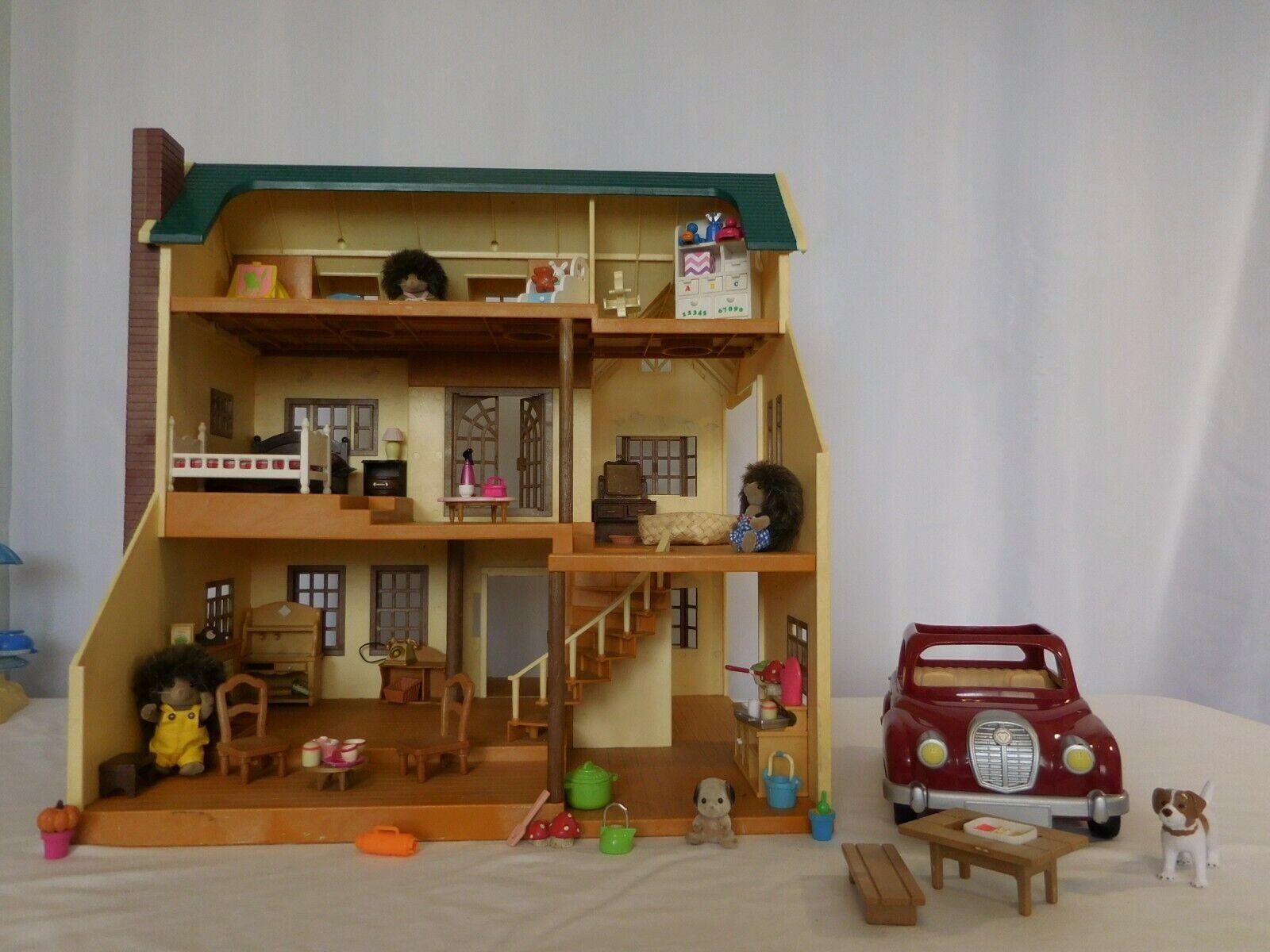 Calico Critters Sylvanian Families verde Hill casa + coche de cereza + Merry Go Roun