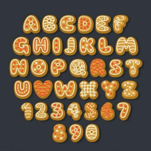 Xmas Alphabet Letters Number Push Cutters Fondant Cookie Tools Cake Mold Set UK