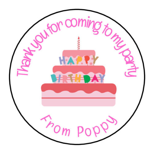 Girl Pink Cake Personalised Thank You Sticker Party Sweet Cone Birthday