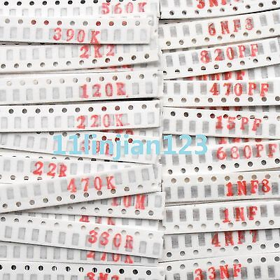 (SMD 1206) 50 Value Resistors + 40 Value Capacitor Package Assorted Kit Set