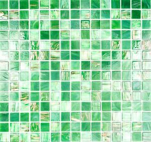 Mosaico piastrella vetro verde / oro muro cucina bagno: 54-0504 I 1 ...