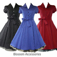 Rkh1 Hearts & Roses Rockabilly Tea Shirt Dress Polka Dots Swing 50s Retro Plus