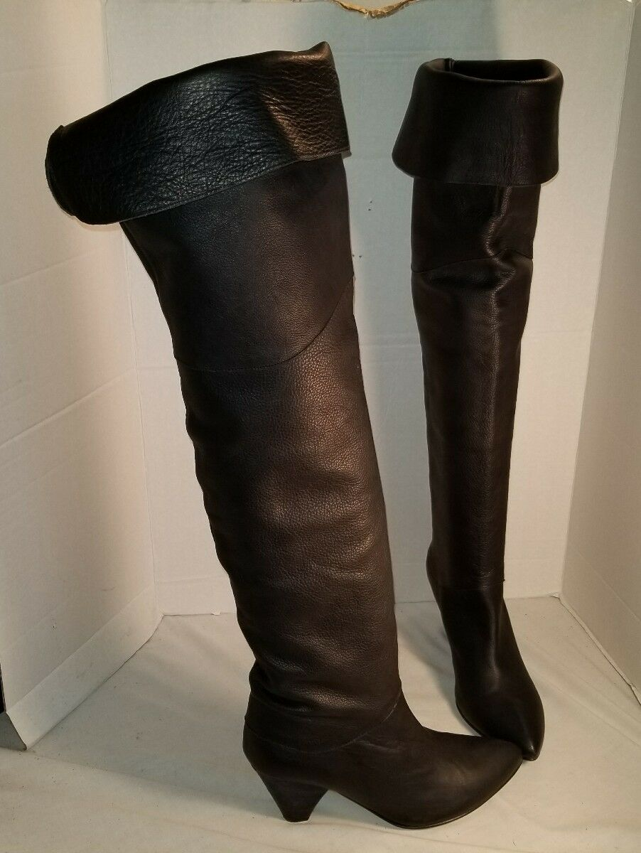 FREE PEOPLE WOMEN'S BRANDI BLACK  LEATHER OVER THE KNEE BOOTS US 9 EUR 39