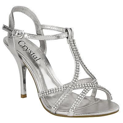 Damen Absatz Schuhe Sandalen Hoch Strass Ball Hochzeit Braut Abend