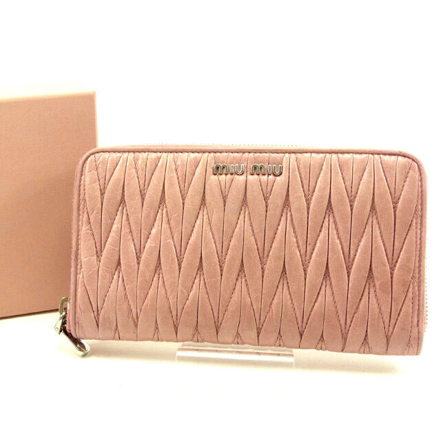 miumiu Wallet Purse Long Wallet Materasse Pink Woman Authentic Used Y4009