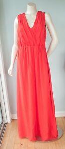 TED-BAKER-Women-039-s-Size-2-US-6-Rosani-Silk-Maxi-Dress-Lined-Dark-Orange-DAMAGED