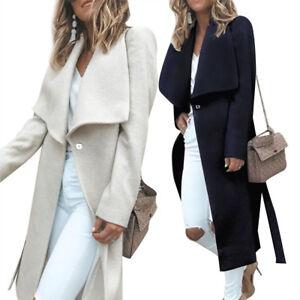 Women Warm Winter Lapel Wool Cashmere Coat Parka Thicken Jacket Outwear Overcoat