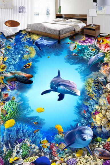 3D Peces Mar Piedra Piso impresión de parojo de papel pintado mural 446 Calcomanía 5D AJ Wallpaper