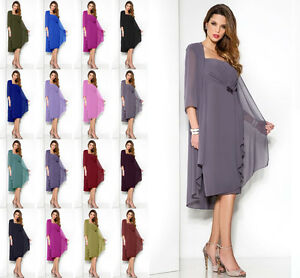 New-Mother-of-The-Bride-Dress-amp-Jacket-Chiffon-Outfit-Suit-Ball-Gown-Formal-Dres