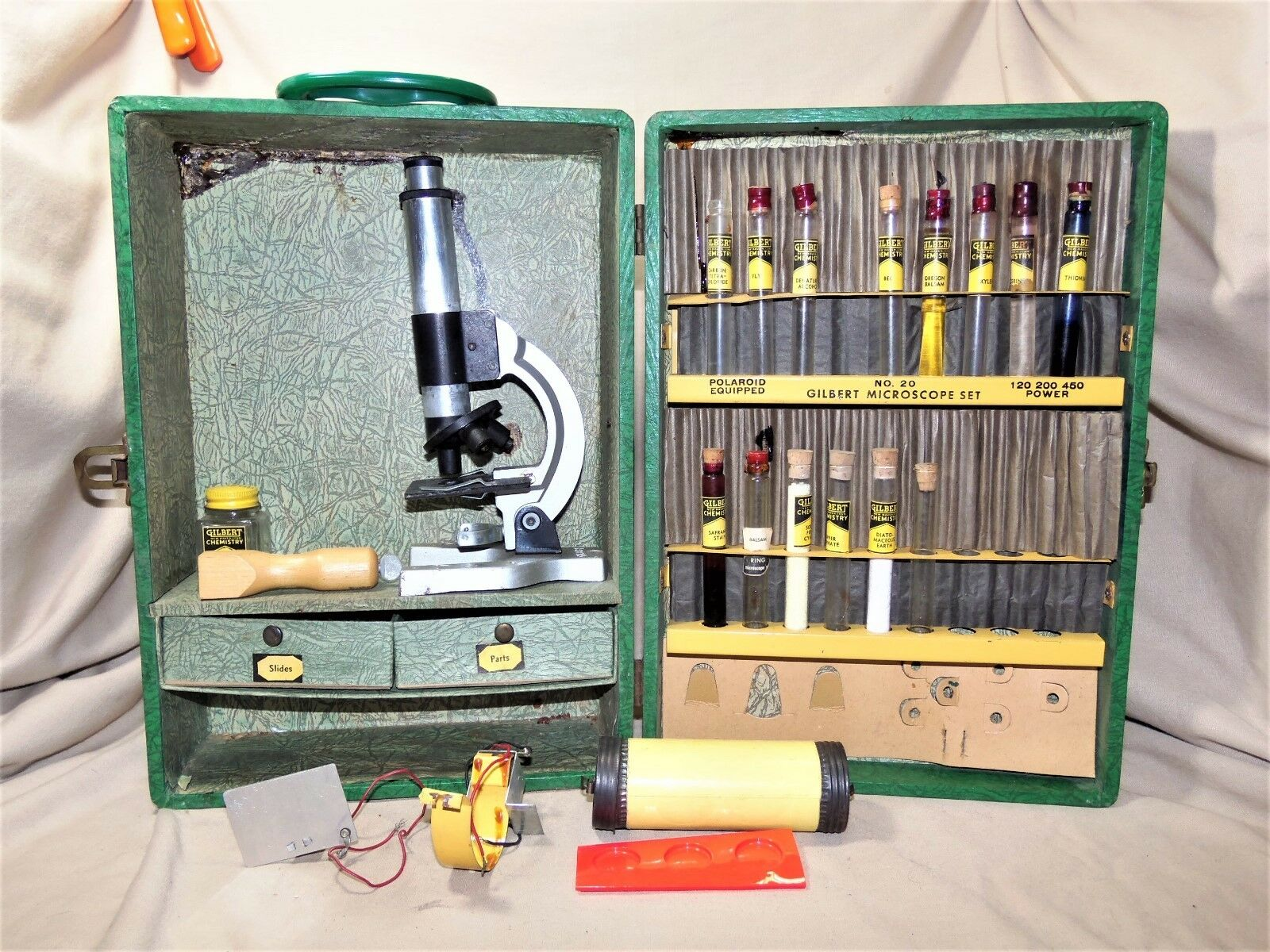 Antique 1938 Gilbert Toy Microscope Set no. 20 Near Complete In Wooden Case 7710