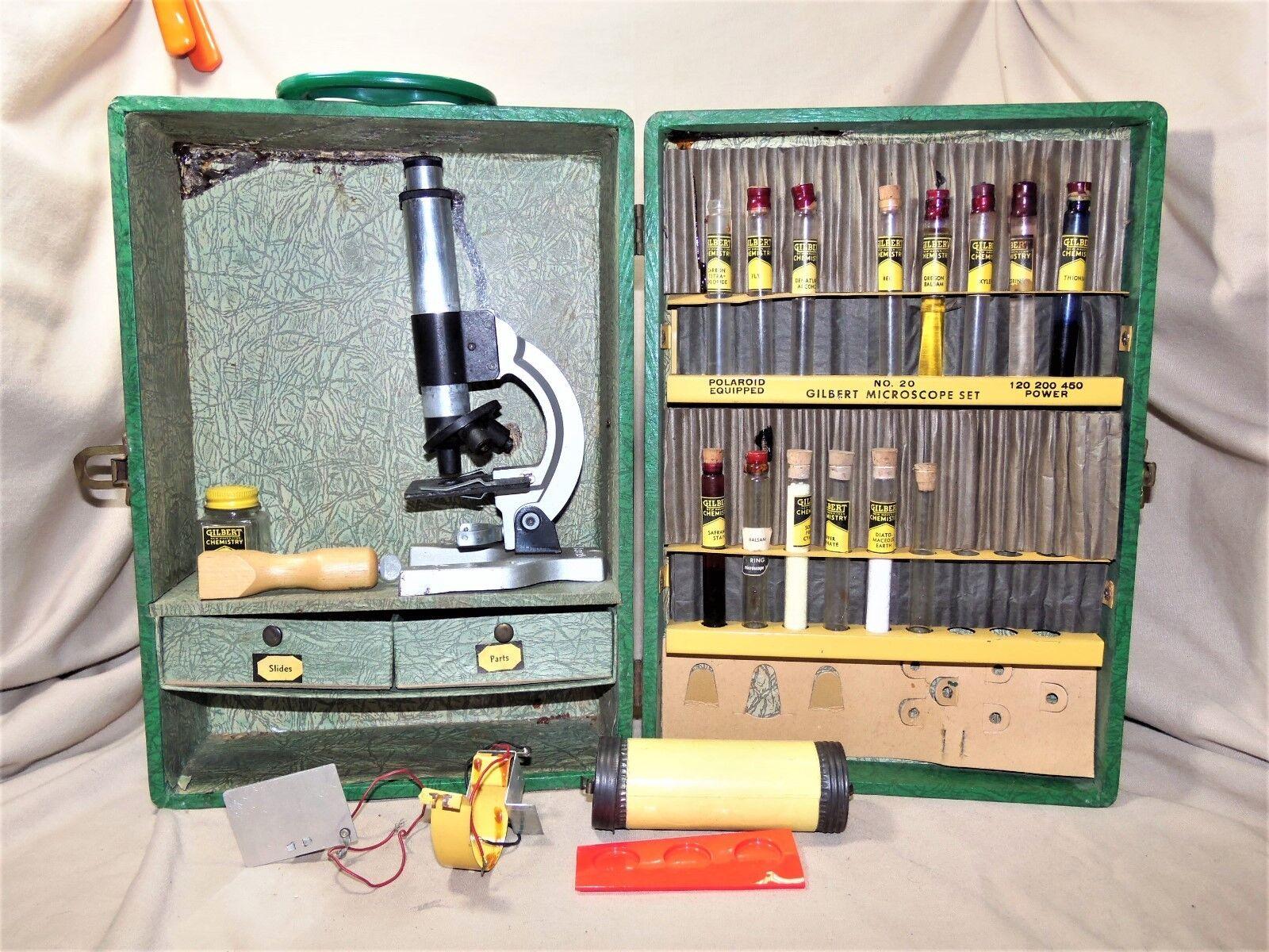 El antiguo microscopio Gilbert de 1938, 20, casi todo todo todo en cajas de madera 7710. 1fd
