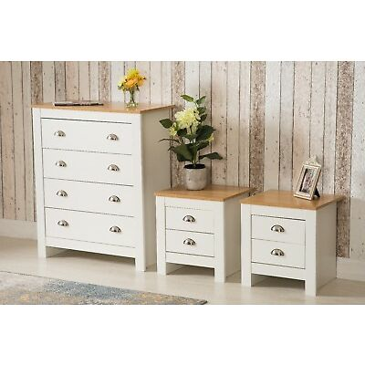 Country style Bedroom Furniture Chest of 4 Drawers Bedside tables Grey or White
