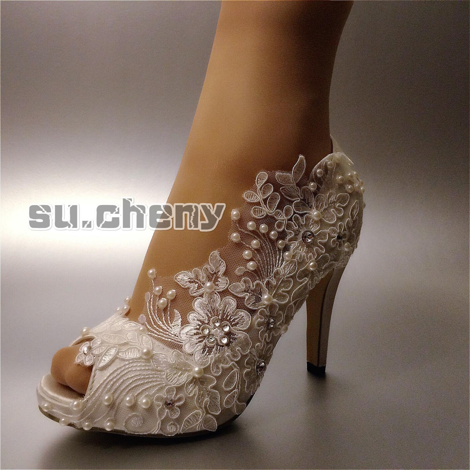 su.cheny Heels satin white ivory lace Gypsophila open toe Wedding Bridal shoes