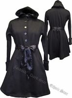 "Ladies Black Gothic Victorian Steampunk Hooded ""A Line"" Velvety Jacket Size S/M"