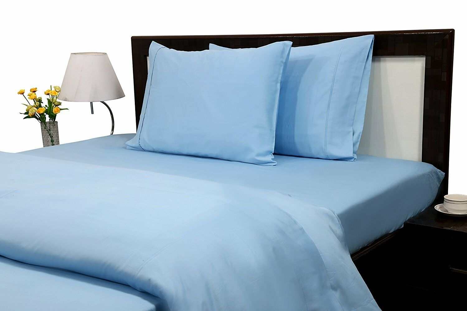 Egyptian Cotton 1 Fitted Sheet & 2 Pillowcase 1000Thread Count light bluee Solid