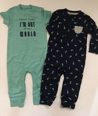 Carters Baby Boy 2 Coveralls Size Newborn 6 Months Green Nave Blue Layette Space