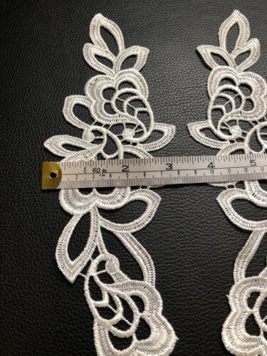 Ivory Floral Leaf Motif 2 Pcs Applique Sewing Craft Venise Lace Trim Wedding