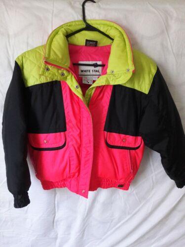 Vintage White Stag Ski Wear Down Jacket Neon Pink,