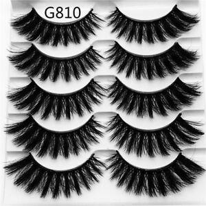 SKONHED-5-Pair-Mink-Hair-False-Eyelashes-Extension-Tools-Makeup-Thick-Wispy-Long
